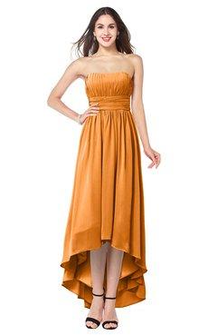 ColsBM Autumn Orange Simple A-line Sleeveless Zip up Asymmetric Ruching Plus Size Bridesmaid Dresses