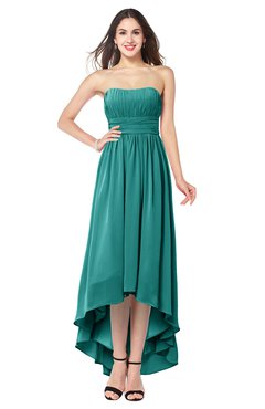 ColsBM Autumn Porcelain Simple A-line Sleeveless Zip up Asymmetric Ruching Plus Size Bridesmaid Dresses