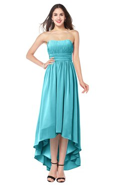 ColsBM Autumn Turquoise Simple A-line Sleeveless Zip up Asymmetric Ruching Plus Size Bridesmaid Dresses
