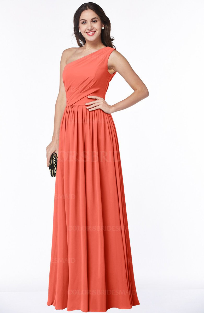 Living coral classic a line one shoulder half backless floor classic a line one shoulder half backless floor length pleated plus size bridesmaid dresses ombrellifo Choice Image