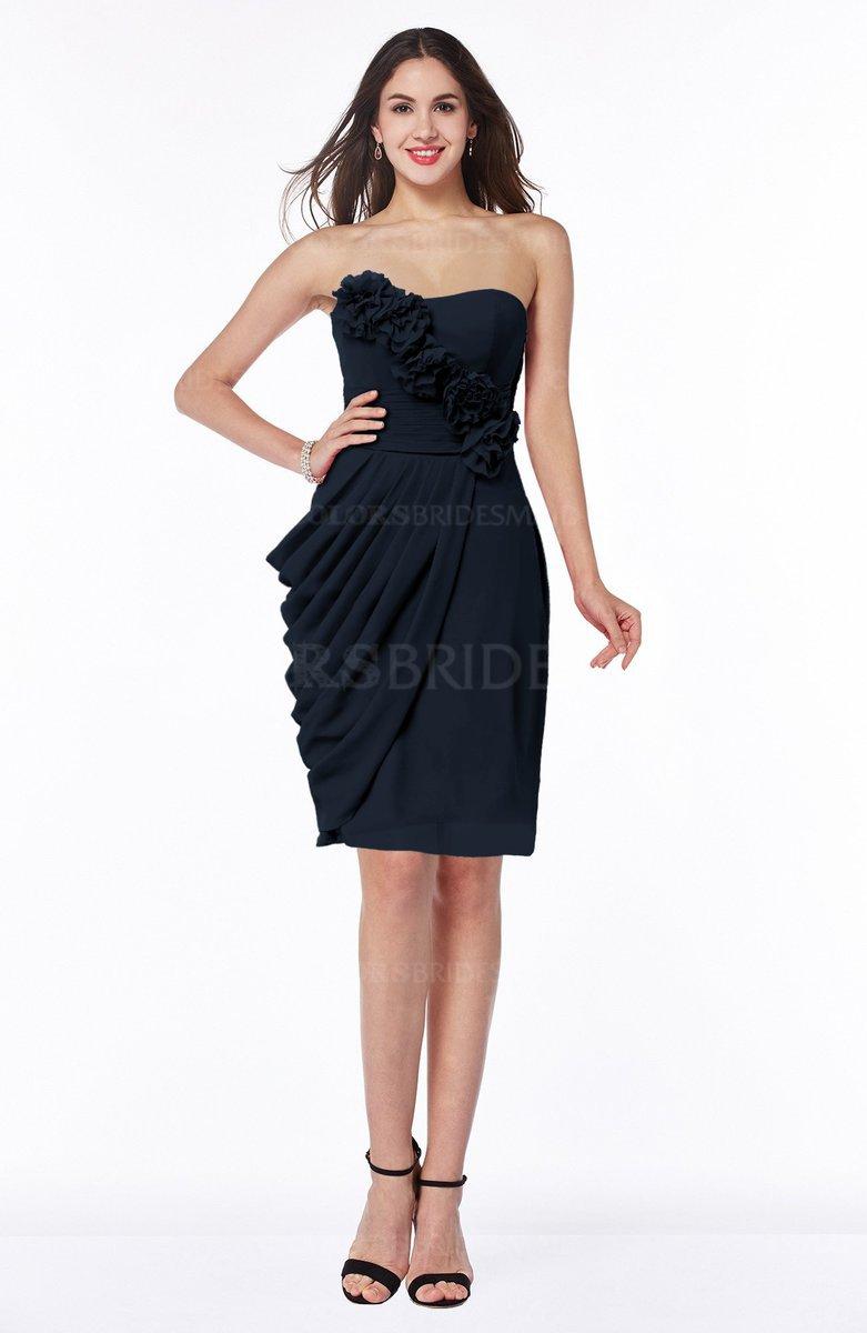 Navy blue elegant column sleeveless half backless chiffon for Navy plus size dress for wedding