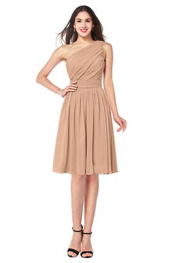 ColsBM Lorelei Almost Apricot Elegant Asymmetric Neckline Zipper Chiffon Knee Length Plus Size Bridesmaid Dresses