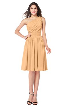 ColsBM Lorelei Apricot Elegant Asymmetric Neckline Zipper Chiffon Knee Length Plus Size Bridesmaid Dresses