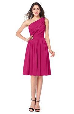 ColsBM Lorelei Beetroot Purple Elegant Asymmetric Neckline Zipper Chiffon Knee Length Plus Size Bridesmaid Dresses
