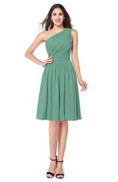 ColsBM Lorelei Beryl Green Elegant Asymmetric Neckline Zipper Chiffon Knee Length Plus Size Bridesmaid Dresses