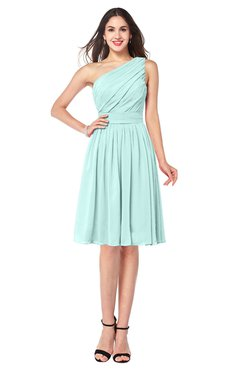 ColsBM Lorelei Blue Glass Elegant Asymmetric Neckline Zipper Chiffon Knee Length Plus Size Bridesmaid Dresses