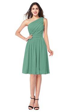 ColsBM Lorelei Bristol Blue Elegant Asymmetric Neckline Zipper Chiffon Knee Length Plus Size Bridesmaid Dresses