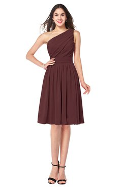ColsBM Lorelei Burgundy Elegant Asymmetric Neckline Zipper Chiffon Knee Length Plus Size Bridesmaid Dresses