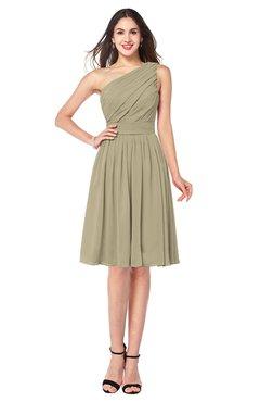ColsBM Lorelei Candied Ginger Elegant Asymmetric Neckline Zipper Chiffon Knee Length Plus Size Bridesmaid Dresses