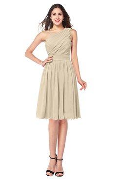 ColsBM Lorelei Champagne Elegant Asymmetric Neckline Zipper Chiffon Knee Length Plus Size Bridesmaid Dresses