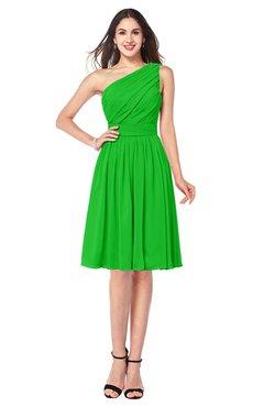 ColsBM Lorelei Classic Green Elegant Asymmetric Neckline Zipper Chiffon Knee Length Plus Size Bridesmaid Dresses