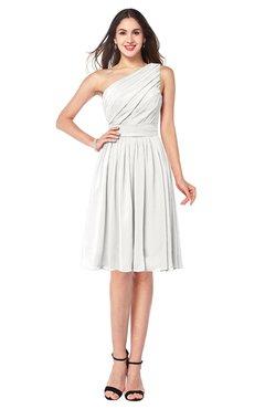 ColsBM Lorelei Cloud White Elegant Asymmetric Neckline Zipper Chiffon Knee Length Plus Size Bridesmaid Dresses