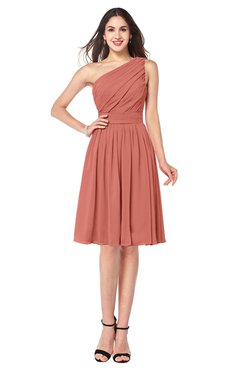 ColsBM Lorelei Crabapple Elegant Asymmetric Neckline Zipper Chiffon Knee Length Plus Size Bridesmaid Dresses