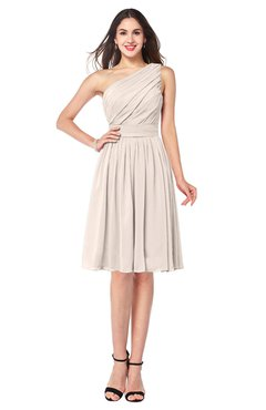 ColsBM Lorelei Cream Pink Elegant Asymmetric Neckline Zipper Chiffon Knee Length Plus Size Bridesmaid Dresses