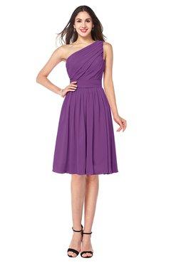 ColsBM Lorelei Dahlia Elegant Asymmetric Neckline Zipper Chiffon Knee Length Plus Size Bridesmaid Dresses