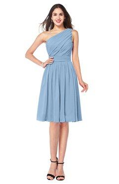 ColsBM Lorelei Dusty Blue Elegant Asymmetric Neckline Zipper Chiffon Knee Length Plus Size Bridesmaid Dresses