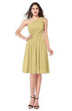 ColsBM Lorelei Gold Elegant Asymmetric Neckline Zipper Chiffon Knee Length Plus Size Bridesmaid Dresses