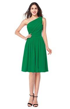 ColsBM Lorelei Green Elegant Asymmetric Neckline Zipper Chiffon Knee Length Plus Size Bridesmaid Dresses