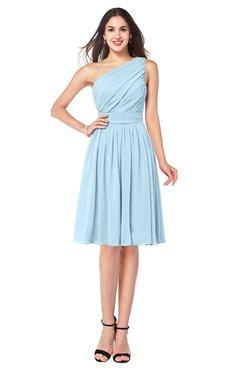ColsBM Lorelei Ice Blue Elegant Asymmetric Neckline Zipper Chiffon Knee Length Plus Size Bridesmaid Dresses