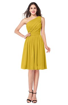 ColsBM Lorelei Lemon Curry Elegant Asymmetric Neckline Zipper Chiffon Knee Length Plus Size Bridesmaid Dresses
