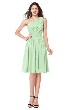ColsBM Lorelei Light Green Elegant Asymmetric Neckline Zipper Chiffon Knee Length Plus Size Bridesmaid Dresses