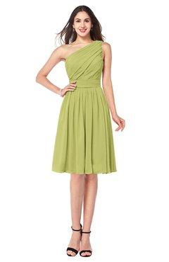 ColsBM Lorelei Linden Green Elegant Asymmetric Neckline Zipper Chiffon Knee Length Plus Size Bridesmaid Dresses