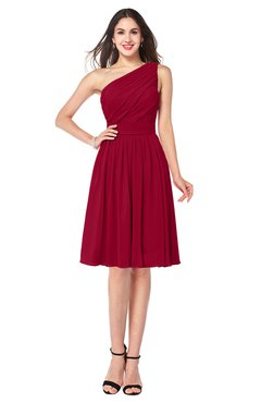 ColsBM Lorelei Maroon Elegant Asymmetric Neckline Zipper Chiffon Knee Length Plus Size Bridesmaid Dresses