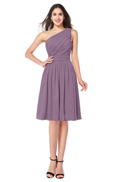 ColsBM Lorelei Mauve Elegant Asymmetric Neckline Zipper Chiffon Knee Length Plus Size Bridesmaid Dresses