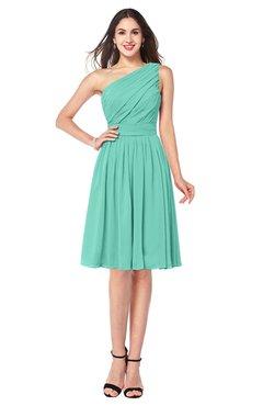 ColsBM Lorelei Mint Green Elegant Asymmetric Neckline Zipper Chiffon Knee Length Plus Size Bridesmaid Dresses
