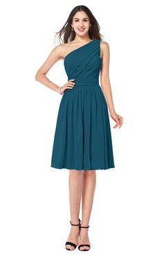 ColsBM Lorelei Moroccan Blue Elegant Asymmetric Neckline Zipper Chiffon Knee Length Plus Size Bridesmaid Dresses