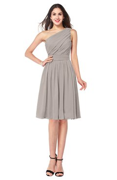 ColsBM Lorelei Mushroom Elegant Asymmetric Neckline Zipper Chiffon Knee Length Plus Size Bridesmaid Dresses