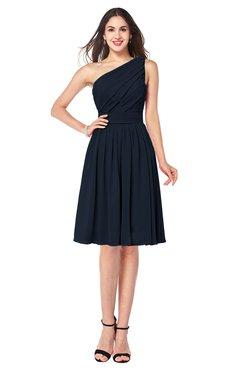 ColsBM Lorelei Navy Blue Elegant Asymmetric Neckline Zipper Chiffon Knee Length Plus Size Bridesmaid Dresses