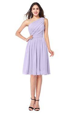 ColsBM Lorelei Pastel Lilac Elegant Asymmetric Neckline Zipper Chiffon Knee Length Plus Size Bridesmaid Dresses