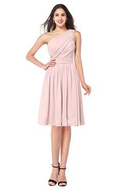 ColsBM Lorelei Pastel Pink Elegant Asymmetric Neckline Zipper Chiffon Knee Length Plus Size Bridesmaid Dresses