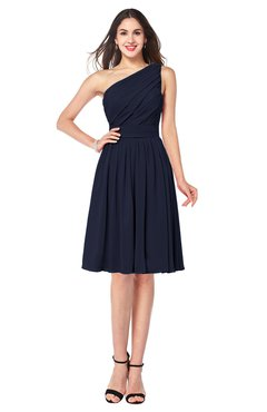 ColsBM Lorelei Peacoat Elegant Asymmetric Neckline Zipper Chiffon Knee Length Plus Size Bridesmaid Dresses