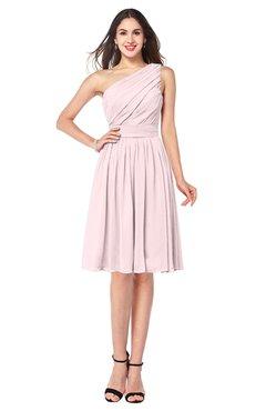 ColsBM Lorelei Petal Pink Elegant Asymmetric Neckline Zipper Chiffon Knee Length Plus Size Bridesmaid Dresses