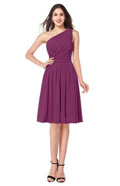 ColsBM Lorelei Raspberry Elegant Asymmetric Neckline Zipper Chiffon Knee Length Plus Size Bridesmaid Dresses