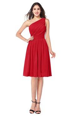ColsBM Lorelei Red Elegant Asymmetric Neckline Zipper Chiffon Knee Length Plus Size Bridesmaid Dresses