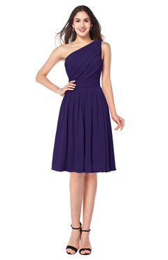 ColsBM Lorelei Royal Purple Elegant Asymmetric Neckline Zipper Chiffon Knee Length Plus Size Bridesmaid Dresses