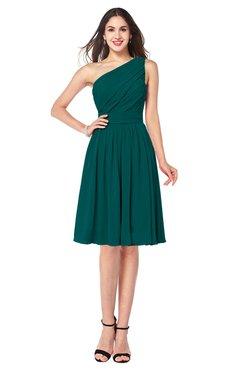 ColsBM Lorelei Shaded Spruce Elegant Asymmetric Neckline Zipper Chiffon Knee Length Plus Size Bridesmaid Dresses
