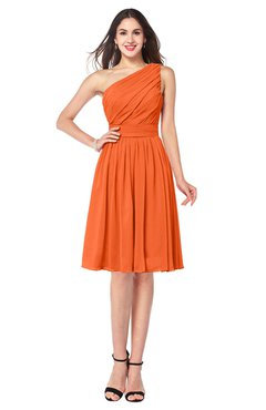ColsBM Lorelei Tangerine Elegant Asymmetric Neckline Zipper Chiffon Knee Length Plus Size Bridesmaid Dresses