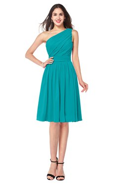 ColsBM Lorelei Teal Elegant Asymmetric Neckline Zipper Chiffon Knee Length Plus Size Bridesmaid Dresses