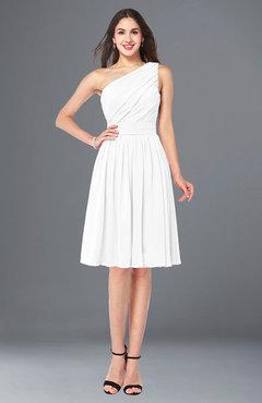127b7280da ColsBM Lorelei White Elegant Asymmetric Neckline Zipper Chiffon Knee Length  Plus Size Bridesmaid Dresses