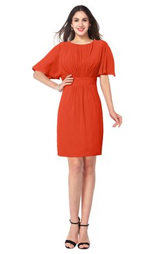 ColsBM Jaylee Persimmon Simple Jewel Short Sleeve Mini Ribbon Plus Size Bridesmaid Dresses