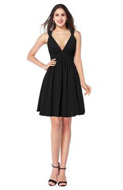 ColsBM Mara Black Sexy A-line V-neck Sleeveless Chiffon Plus Size Bridesmaid Dresses