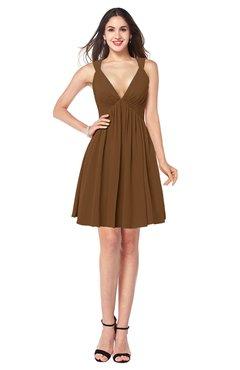 ColsBM Mara Brown Sexy A-line V-neck Sleeveless Chiffon Plus Size Bridesmaid Dresses