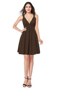 ColsBM Mara Copper Sexy A-line V-neck Sleeveless Chiffon Plus Size Bridesmaid Dresses