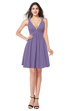 ColsBM Mara Lilac Sexy A-line V-neck Sleeveless Chiffon Plus Size Bridesmaid Dresses