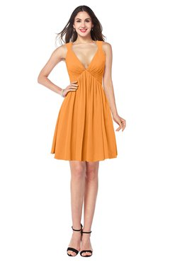 ColsBM Mara Orange Sexy A-line V-neck Sleeveless Chiffon Plus Size Bridesmaid Dresses