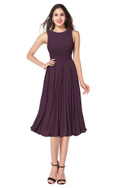Purple Tea Length Formal Dresses
